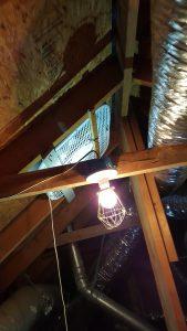 Incorrect type attic exhaust fan installed - Safety hazard