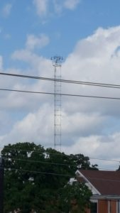 Moontower, historical street lighting in Austin Texas. Last remaining city to have any left and working.