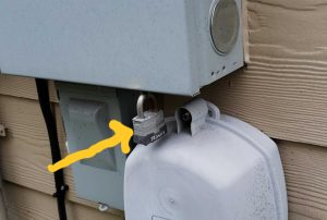 Electric panels should never be locked unless the power is off.